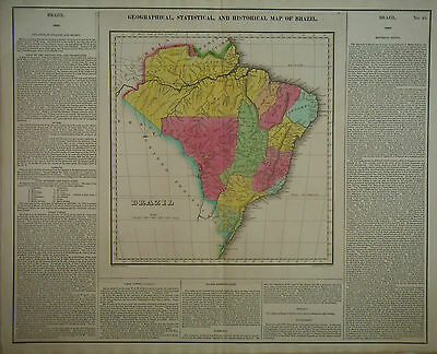 1822 Genuine Antique Hand Colored map of Brazil with text. Carey & Lea