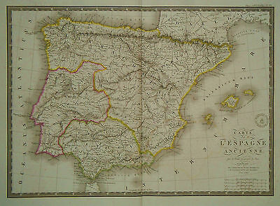 1827 Genuine Antique large map of Ancient Spain. by A.H. Brue