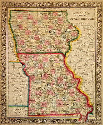 1860 Genuine Antique Map of Iowa & Missouri. A Mitchell