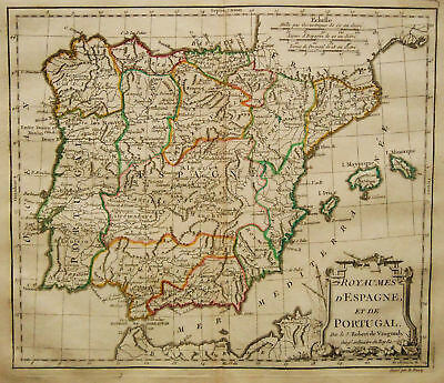c.1780 Genuine Antique map Spain & Portugal. De Vaugondy