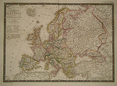 1828 Genuine Antique hand colored map Europe after peace treaties. by A.H. Brue