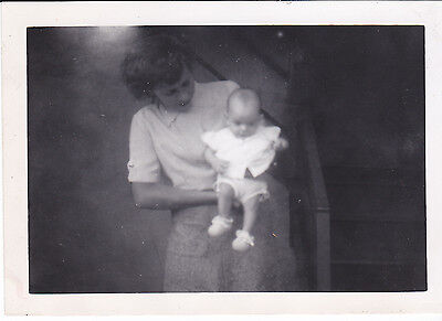 Vintage Photo Pretty Woman Holds Young Cute Baby Wearing Little Booties 1950s