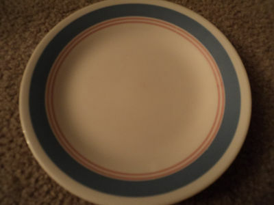 LOT OF 4 CORELLE DESSERT/SALAD BREAD PLATES COLONIAL BLUE STRIPED  PATTERN