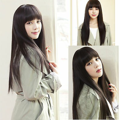 Women Natural Black Fashion Sexy Full Long Straight Wigs Cosplay Smooth Hair Wig