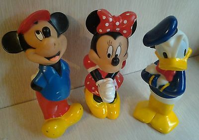 Vintage Disney Mickey Mouse Minnie Mouse and Donald Duck Rubber Figures 6 Inch