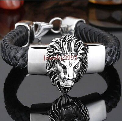 men's jewlery fashion stainless steel lion head with black leather bracelet 20mm