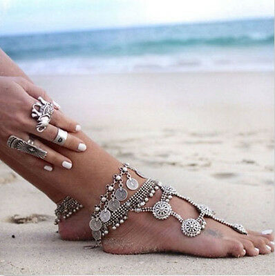 Beautiful 1Pc Antique Silver Coin Bohemian Moon Lovers Gypsy Bracelet Anklet