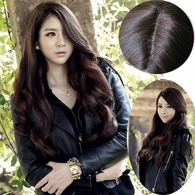 Dark Brown Fashion Cosplay Wig Long Curly Wavy Hair Full Wigs Party Costume Wig