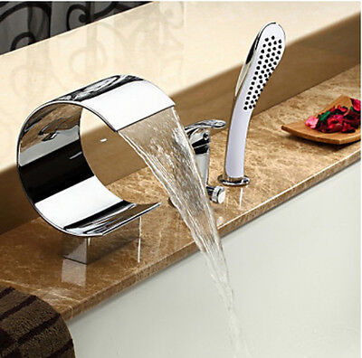 NEW Modern Chrome Solid Brass Bathroom Tub Faucet Single Lever 3 Holes Mixer Tap
