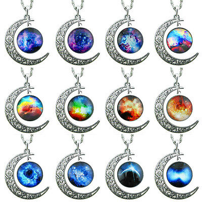 Hot Women Colorful Galaxy Glass Hollow Moon Shape Pendant Silver Tone Necklace