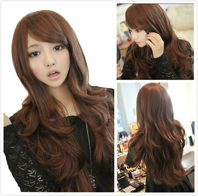 New Style Womens Girls Sexy Long Fashion Curly Full Wavy Hair Wig Light Brown