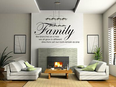 Family Tree Together Quote Vinyl Wall Sticker Decal Home Decor Art Removable