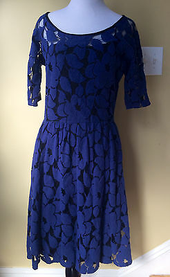 Anthropologie Unconditional Osier Dress Blue Weston Wear Medium M