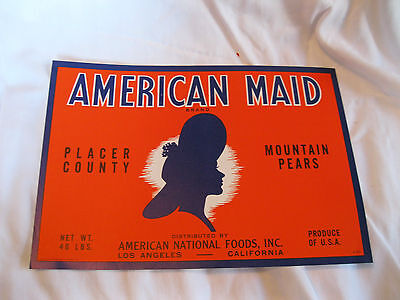 1920s American Maid Pears  American National Foods Fruit Crate Label