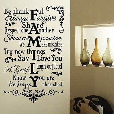 Be thankful Wall Sticker Family Rule Decal Vinyl art Lettering Mural Home decor