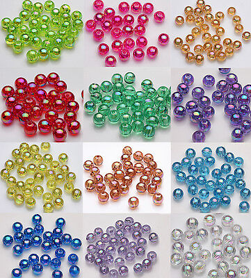 50/100pcs Acrylic Round Plated AB Loose Spacer Beads Charm Jewelry Finding 8mm