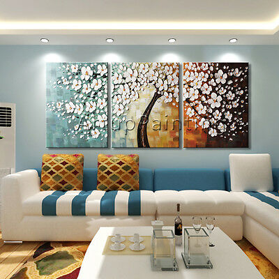 3 pieces Modern Canvas Wall Art hand Painted Art Oil Painting Tree Large canvas