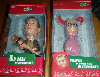 A Christmas Story BOBBLE HEAD Headknocker Set ~ OLD MAN + RALPHIE in BUNNY SUIT