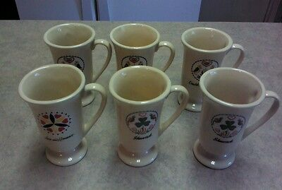 Vintage Pennsylvania Dutch Hex Signs 6 Small Coffee Mugs Cups