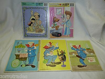 5 Vintage Frame Tray Puzzles- Bozo the Clown, Pound Puppies & Precious Moments