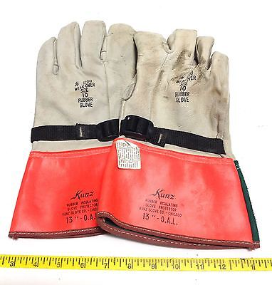 Kunz Rubber Insulating Glove Protector Gloves Size 10  105059