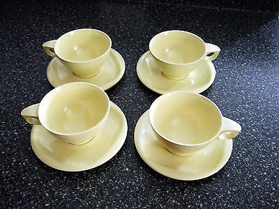 Boontonware 1950's Cups Mugs Saucers Plate Pale Yellow Set of 4 Melmac Melamine