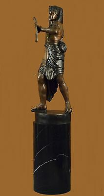 Vintage solid heavy bronze brass king tut egyptian sculpture Marble Art Deco LRG