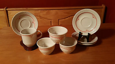Shenango China White with Coral Pink 3 Custard Cups 4 Saucers and 1 Cup Mug