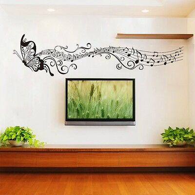 Music butterfly wall decal sticker Home room art Decor VINYL removable Black W1
