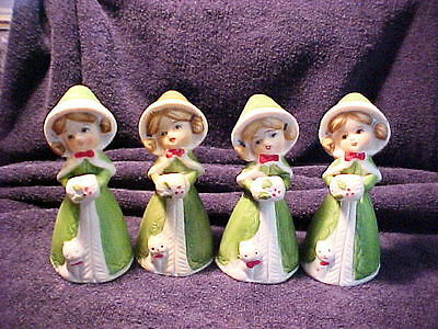 4 VINTAGE LADY BELL DRESSED IN GREEN WITH CAT AT FEET 3 JASCO THE OTHER UNMARKED