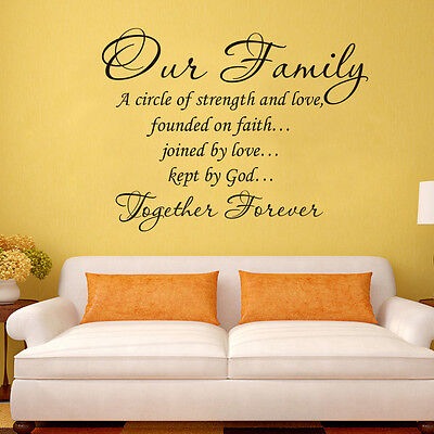 Our Family Forever Together Wall Quote decal Removable stickers Vinyl Art Decor