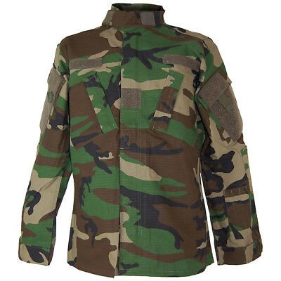TACTICAL ACU ARMY Ripstop Shirt Military Mens Field Jacket Woodland Camo  S-XXL