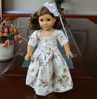 "Doll Clothes fits 18"" American Girl Handmade White Flower  Party Dress"