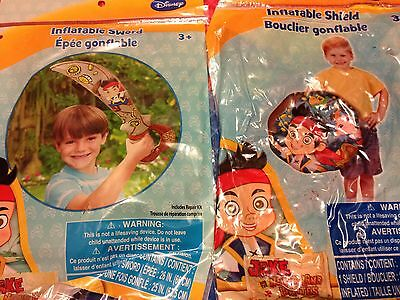 Jake & the Neverland Pirate Inflatable Sword & Shield ~LOT Toy Easter Gift Favor
