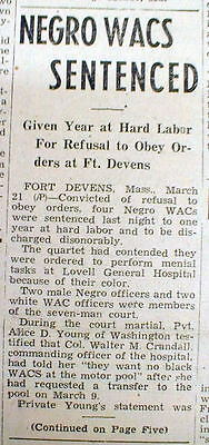 1945 WW II newspaper 4 Negro women soldiers WACS convicted in Civil Rights case