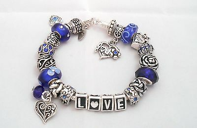 Authentic Pandora Silver Charm Bracelet with European Charms Blue Love Wife