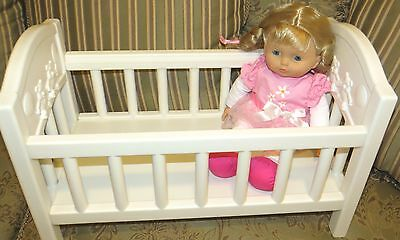 """Baby Doll Crib in Whit For14""""  American Girl Bitty Baby + Blonde Doll by Ditoy"""