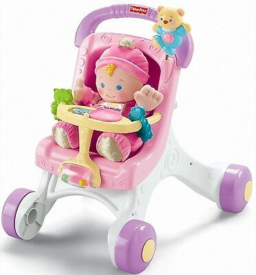 Fisher Price Stroll Along Walker Brilliant Basics Stroller Walk Push Chair Baby