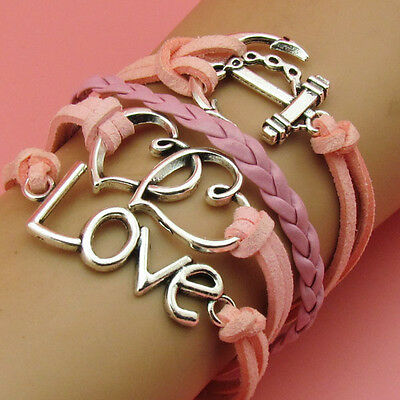 NEW Fashion hot Infinity LOVE Heart Leather Cute Bracelet pink silver S034B