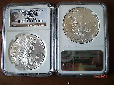 RARE!!! 2012 (S) 1oz Early Releases American Eagle NGC MS 69 *Trolley Label*
