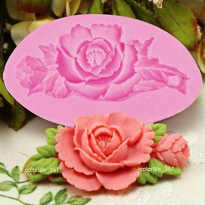 DIY Silicone Rose Pattern Mould Cake Chocolate Candy Craft Decorating Bake Tools