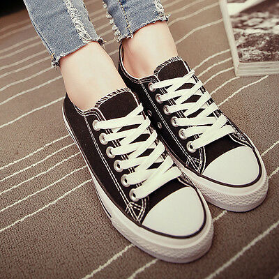 Women's Fashion Comfy Casual Sneakers Lace Up Flat Preppy Canvas Shoes US7.5