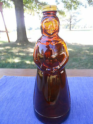 Vintage Mrs Butterworth Amber Glass Syrup Jar with Metal Cap