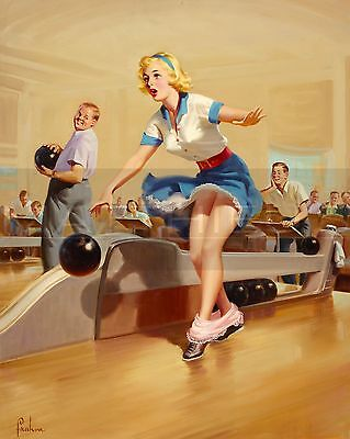 Art Frahm-Spare, Canvas/Paper Print, Pinup Girl, Bowling