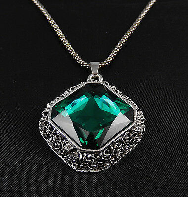 Antique silver plated Green Glass  square Pendant Long Chain Sweater Necklace