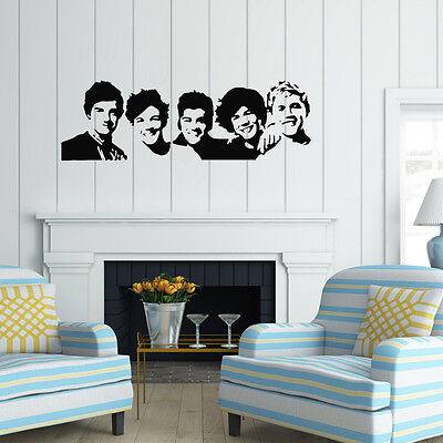 One Direction 1D vinyl young bedroom art mural wall decals stickers paper
