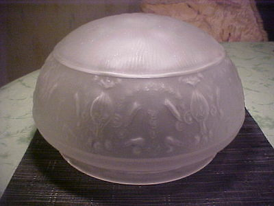 "VTG Art Deco Frosted Glass Embossed Ceiling Shade/Light Cover*X-Lg*12.5"" x 7"""