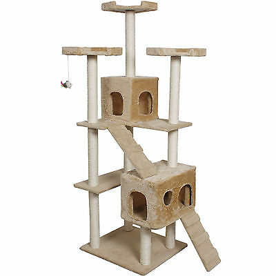 """73"""" Cat Kitty Tree Tower Condo Furniture Scratch Post Pet House Toy Bed Beige"""