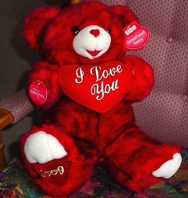 """2009 VALENTINES DAY Teddy Red Bear """"I love you"""" On Red Heart Best GIFT NEVER NWT"""