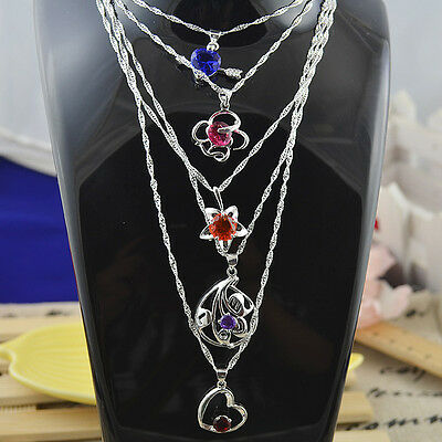 Wholesale lots 5pc 925Sterling silver Crystal charms pendant +Necklace   ***N261